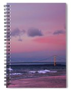 Pink Sunset Over Mackinac Michigan Spiral Notebook