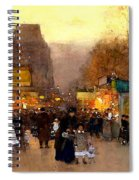 Porte St Martin At Christmas Time In Paris Spiral Notebook