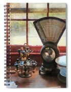 Postage Scale And Rubber Stamps Spiral Notebook