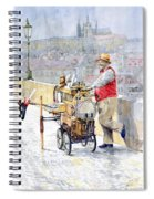 Prague Charles Bridge Organ Grinder-seller Happiness  Spiral Notebook