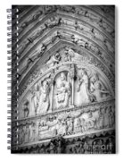 Prayers At Notre Dame - Black And White Spiral Notebook