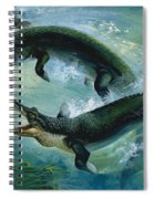 Pre-historic Crocodiles Eating A Fish Spiral Notebook