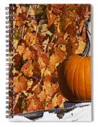 Pumpkin On White Fence Post Spiral Notebook