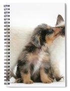 Puppy Licking Kitten Spiral Notebook