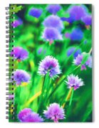 Purple And Green Chive Watercolor Spiral Notebook