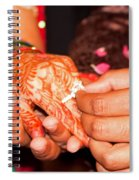 Putting The Gold And Diamond Engagement Ring On The Finger Of The Lady Spiral Notebook