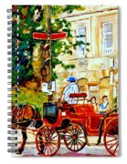 Quebec City Street Scene The Red Caleche Spiral Notebook
