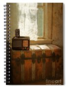 Radio And Camera On Old Trunk Spiral Notebook