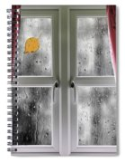 Rain On A Window With Curtains Spiral Notebook