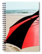 Red And Black Umbrella On The Beach With Footprints Spiral Notebook