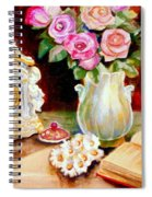 Red And Pink Roses And Daisies - The Doves Of Peace-angels And The Bible Spiral Notebook
