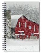 Red Barn In Heavy Snow Spiral Notebook