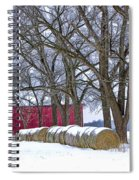 Red Barn In Winter With Hay Bales Spiral Notebook