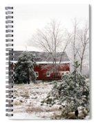 Michigan Red Barn Winter Scene Snow Landscape Spiral Notebook