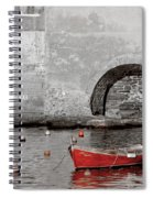 Red Boat In The Harbor At Vernazza Spiral Notebook