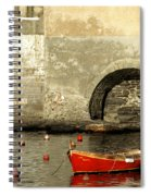 Red Boat In Vernazza Harbor On The Cinque Terre Spiral Notebook