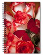 Red Butterfly On Blush Roses Spiral Notebook