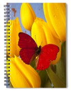 Red Butterful On Yellow Tulips Spiral Notebook