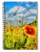 Red Flower In The Field Spiral Notebook