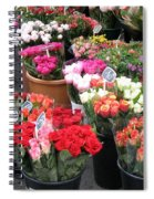 Red Flowers In French Flower Market Spiral Notebook