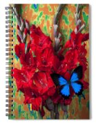 Red Gladiolus And Blue Butterfly Spiral Notebook