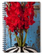 Red Glads Against Blue Wall Spiral Notebook