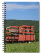 Red Hay Wagon In Green Mountain Field Spiral Notebook