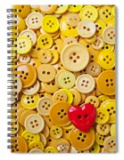 Red Heart And Yellow Buttons Spiral Notebook