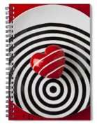 Red Heart On Circle Plate Spiral Notebook