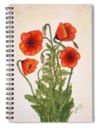Red Poppies Watercolor Painting Spiral Notebook
