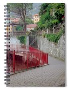Red Rail Walkway To Varenna Along Lake Como Spiral Notebook
