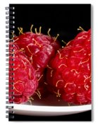 Red Raspberries On A White Spoon Against Black No.0102 Spiral Notebook