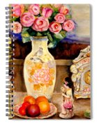Red Roses Yellow Daffodils In Hand Painted Oriental Antique Vases With Fruit Plate Doves And Angels Spiral Notebook