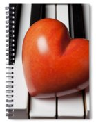 Red Stone Heart On Piano Keys Spiral Notebook