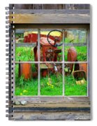 Red Tractor Thru Old Window Spiral Notebook