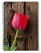 Red Tulip And Horseshoe  Spiral Notebook