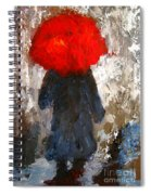 Red Umbrella Under The Rain Spiral Notebook