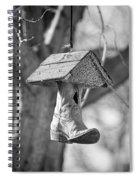 Redneck Cowboy Boot Birdhouse Bw Spiral Notebook