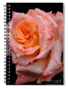 Rose And Raindrops On Black Spiral Notebook