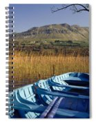 Row Boat Amongst Reeds On A Lake Spiral Notebook