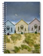 Row Of Pastel Colored Beach Cottages Spiral Notebook