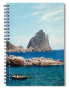 Rowing Off The Rocks Spiral Notebook