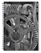 Rust Gears And Wheels Black And White Spiral Notebook