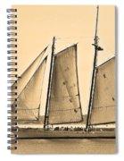 Scenic Schooner - Sepia Spiral Notebook