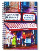 Schwartz's Deli With Lady In Green Dress Spiral Notebook
