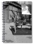 Scuptures On The Corner In Black And White Spiral Notebook