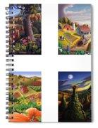 seasonal farm country folk art-set of 4 farms prints amricana American Americana print series Spiral Notebook