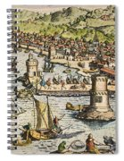 Seville: Departure, 1594. /ndeparture For The New World From Sanlucar De Barrameda, The Port Of Seville, Spain. Line Engraving, 1594, By Theodor De Bry Spiral Notebook