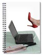 Sexy Woman Kicks A Laptop  Spiral Notebook