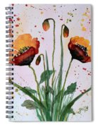 Shining Red Poppies Watercolor Painting Spiral Notebook